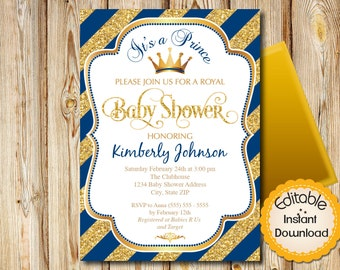 "Baby Shower Invitation, Boy, Prince, Blue and Gold, Diagonal Stripes, INSTANT download, EDITABLE in Adobe Reader, DIY, Printable, 5""x7"""