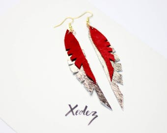 Leather Feather Earrings Red + Gold