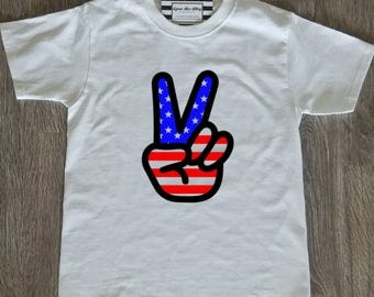 Boys American Flag Peace Sign Shirt - Vinyl