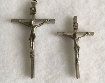 Vintage Italian crucifix, silver overlay cross and Jesus figure, available in two sizes.