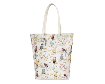 Zip Tote bag- Australia Bird Cockatoo- Oilcloth bag- Ladies handbag- Ladies purse- Oil cloth Tote- Women shoulder bag- Market Tote - Shopper