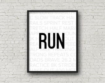 RUN, Track and Field, Cross Country, Marathon, Marathon Gifts, Gift For Runner, Running Gifts, XC, Fitness Motivation, Motivational Poster