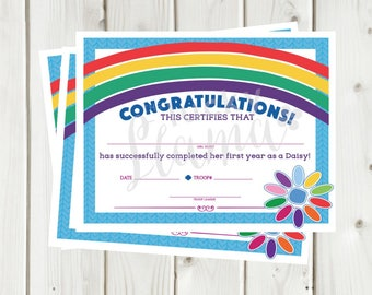 Girl Scouts First Year Daisy Completion Certificate - Instant Download