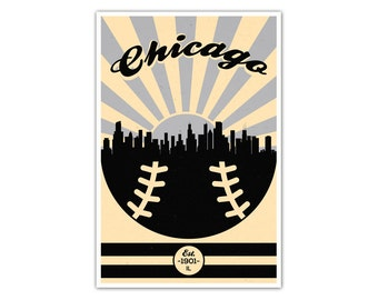 Chicago Baseball Vintage Poster