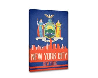 New York City State Flag Skylines Canvas Print
