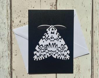 Black Arches moth greeting card - blank inside