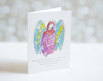 Stained Glass Angel Christmas Cards with Scripture - Folded Relgious Holiday Card Set - Bible Verse - Luke 2:10