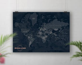 Push Pin World Map, Push Pin Travel Map, World Map Push Pin, Navy World Map, Personalised Travel Map, Bucket list map, Places We've Been map