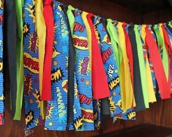 Comic Book Super Hero Rag Tie High Chair Banner