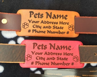 Collar slide Leather personalized dog tag - This listing is for Dog tag only, Leather collars are also available - all hand made!