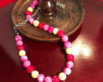 Multi-Color Neon Beaded Necklace