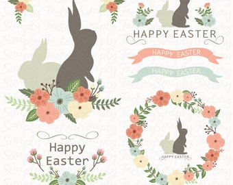 Easter Floral Wreath Set Easter Bunny Easter Clipart
