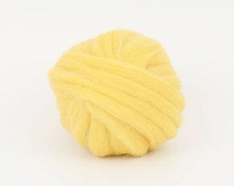 Lemon B181, 1.78oz (50gr) 26mic merino tops felting wool, for needle felting, wet felting, spinning.
