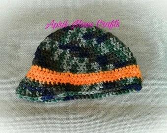 Toddler crochet newsboy hat.