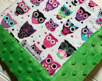 Baby Lovey Blanket- Owls with Green Minky -Flannel and Minky- Security Blanket- Mini Blanket- 19x19