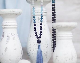 Matte Hand-knotted Mala Beads, Aquamarine Mala Necklace with Large Lava Stone Guru Bead and Silk Tassel, Bohemian 108 Mala, Yoga Jewelry