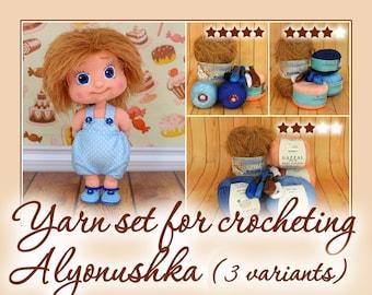 Yarn set for crocheting Alyonushka