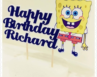 Spongebob Squarepants--Inexpensive Personalized Cake Toppers with Name & Character--Kid's Birthday Party Decorations