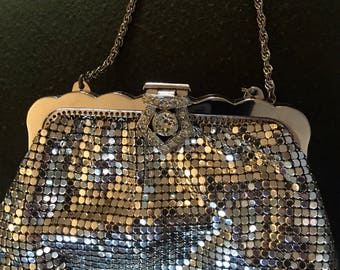 Vintage Whiting & Davis Co. Silver Mesh Clutch with Rhinestone Clasp
