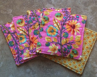 Quilted Coasters -- Tula Pink floral fabric