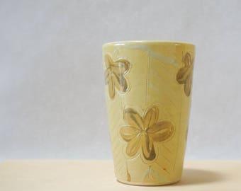 Modern Pottery Handmade Tumbler, Yellow Gold Floral Herringbone Chevron, Handmade Ceramics, Beaker Clay Cup, Father's Day Graduation Present
