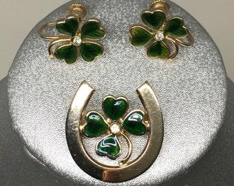 Shamrock earrings and brooch
