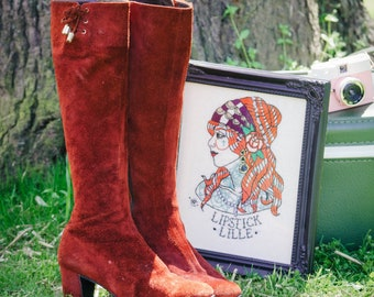 Vintage knee boots - 1960's/1970's suede red knee high boots size US6