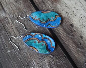 Blue Dangle Earrings, Boho Wooden Earrings, Blue Drop Earrings, Decoupage Earrings, Lightweight Earrings, Stocking Stufffer, Gift for Her