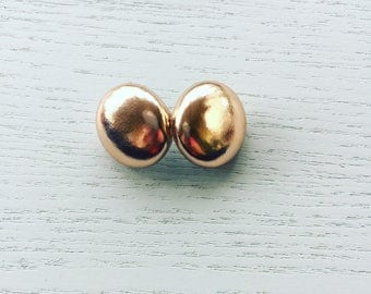 Rose Gold Faux Leather Earrings
