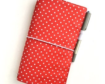 Fabric Fauxdori Traveller's Notebook Cover - Bright Red with White Spots