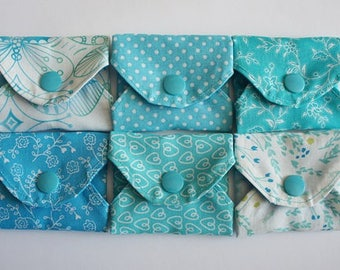 """Reusable cotton pantyliner set """"all turquoise"""""""