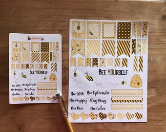 Bumble bee planner stickers. Available in pocket / personal  size or large A5 / happy planner / erin condren size. Planner accessories