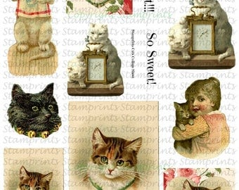 Digital Collage Sheet - Cats CS-10 (by Stamprints). Printable Vintage Images. Paper Crafts. Altered Art. Mixed Media