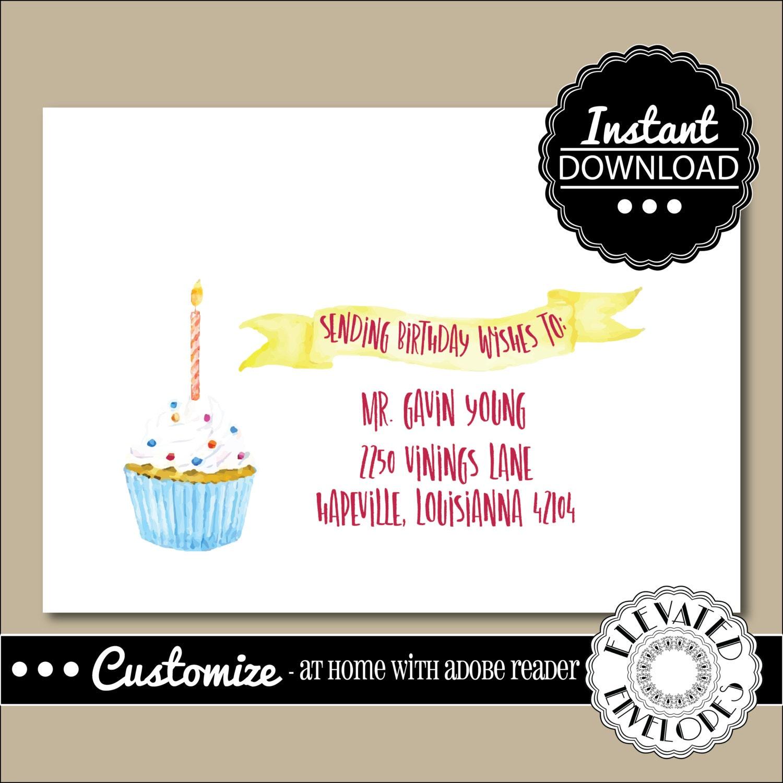 EDITABLE Birthday ENVELOPE TemplateBirthday Envelope