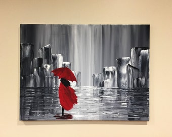 A walk in the rain - abstract acrylic painting on canvas Gift for her
