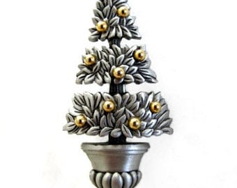 JJ Pewter with Gold Xmas Tree Topiary Brooch Pin