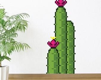 8 Bit Full Cactus Wall Decal
