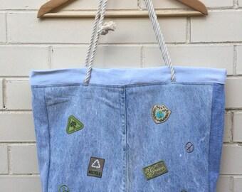 2 way strap recycled denim bag