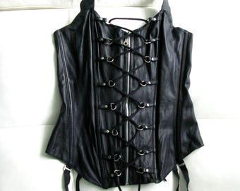 ZADO Fetish Leather Black Lace Up Corset