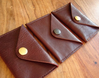 Plum leather envelope coin purse