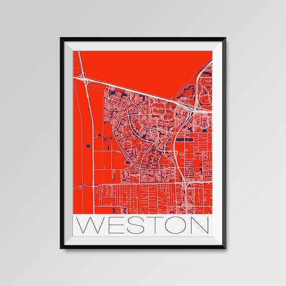 WESTON Florida mapa impresin de mapa de la ciudad de Weston