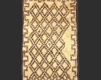 Beni Ourain Moroccan rug 6.6 x 4.3 ft / 200 x 130 cm bohemian boho style carpet