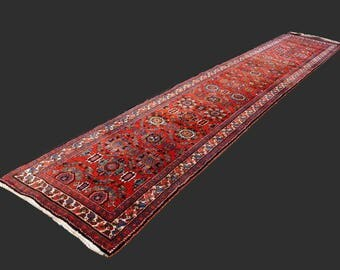 Persian rug Heriz antique 18.5 x 3.3 ft / 565 x 100 cm runner boho vintage carpet hallway runner