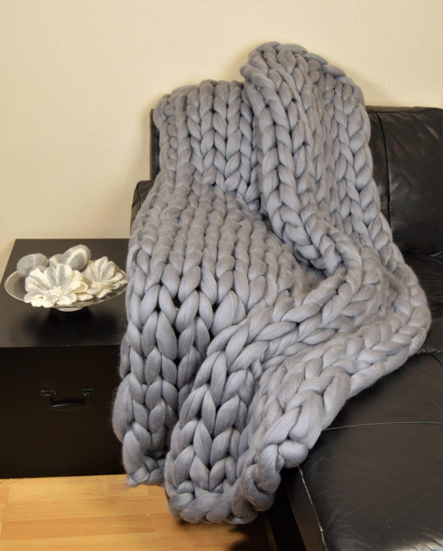 Knitting A Throw Blanket: Throw Blanket Chunky Knit Blanket Merino Wool Arm Knit