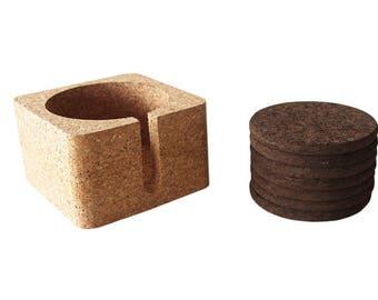 Cork coasters w/ cork storage box