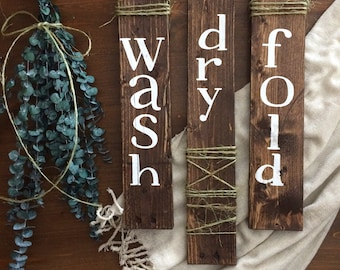 Wash Dry Fold - Laundry Room Decor - Rustic Laundry Room - Reclaimed Wooden Sign