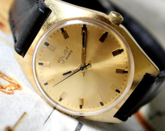 Mens Vintage Watch POLJOT, USSR Watch Poljot/Flight 17 jewels 1970's-gold plated, Dress watch, Men's Wrist Watch, Gift for men, SOVIET watch