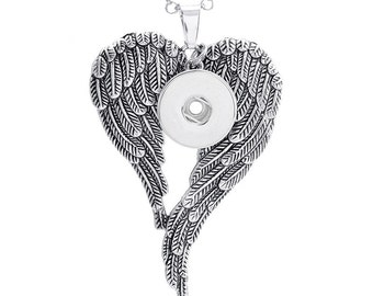 Silver Angel Wings 18mm Snap Charm Pendant compatible with Ginger Snaps, European Interchangeable Jewelry, Noosa, Sugar Snaps, etc...