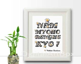 Nam Myoho Renge Kyo Images Printable Print it out Instant Download Mantra Meditation Buddha Enlightenment, DIY Instant Download