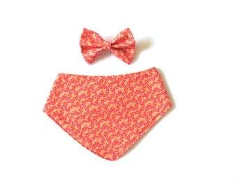 Set of coral bandana bib & bow ~ Matching bib and headband ~ Coral headband ~ Peach fabric bow ~ Baby headband